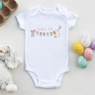 Personalised My 1st Easter Bunting Design Baby Grow Product Image