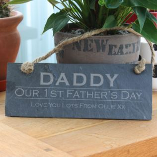 Personalised Our First Father's Day Slate Hanging Plaque Product Image