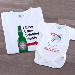 Personalised 1st Father's Day Drinking Buddies T Shirt & Baby Grow Set Product Image
