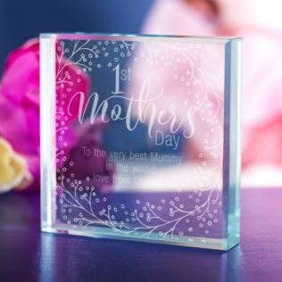 Personalised 1st Mother's Day Glass Keepsake - Wreath Design Product Image