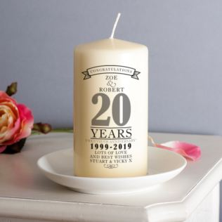 Personalised 20th Anniversary Candle Product Image
