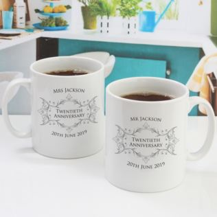 Pair Of Personalised Twentieth Anniversary Mugs Product Image