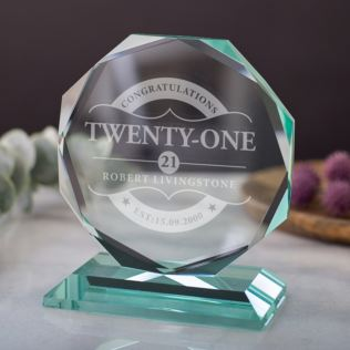 Engraved 21st Birthday Glass Octagon Award Product Image