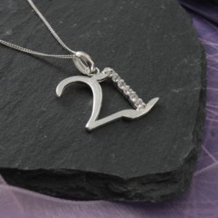 Solid Silver 21 Necklace in Personalised Box Product Image
