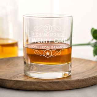 Personalised 21st Birthday Whisky Glass Product Image