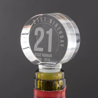 Personalised 21st Birthday Optical Crystal Bottle Stopper Product Image