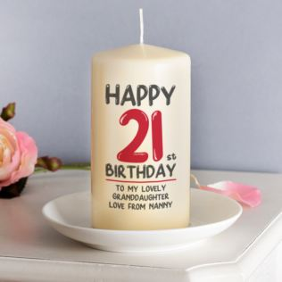 Personalised 21st Birthday Candle Red Product Image