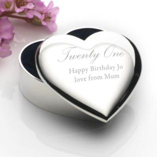 Personalised Silver Plated 21st Birthday Heart Trinket Box Product Image
