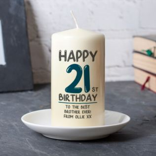 Personalised 21st Birthday Candle Blue Product Image