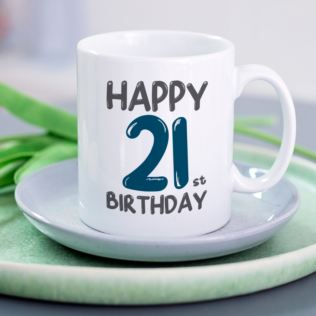 Personalised 21st Birthday Mug Blue Product Image