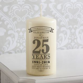 Personalised 25th Anniversary Candle Product Image