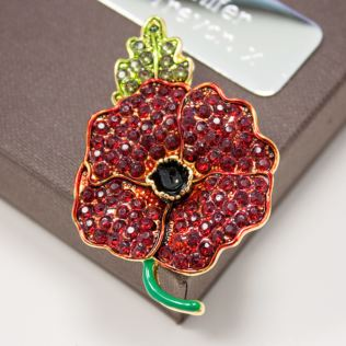 Red Crystal Gold Plated Poppy Brooch in Personalised Gift Box Product Image