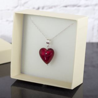 Red Murano Glass Enchanted Hearts Pendant In Personalised Box Product Image