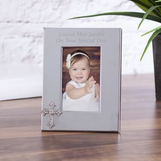Personalised Photo Frame With Crystal Cross Embellishment Product Image
