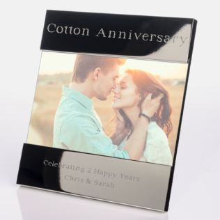 Engraved 2nd (Cotton) Anniversary Photo Frame Product Image