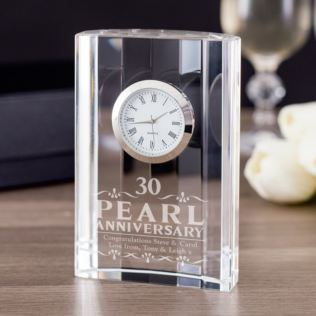 Personalised Pearl Wedding Anniversary Mantel Clock Product Image
