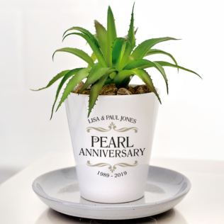 Personalised Pearl Wedding Anniversary Plant Pot Product Image