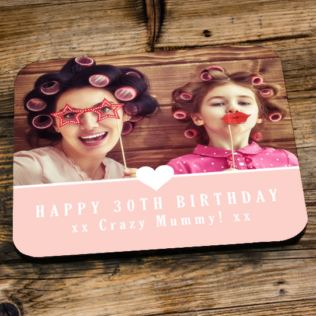 Personalised 30th Birthday Pink Photo Coaster Product Image