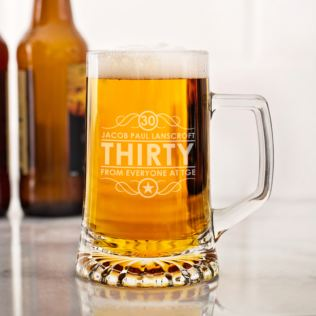 Personalised 30th Birthday Glass Tankard Product Image