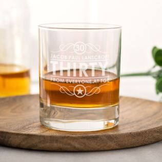 Personalised 30th Birthday Whisky Glass Product Image