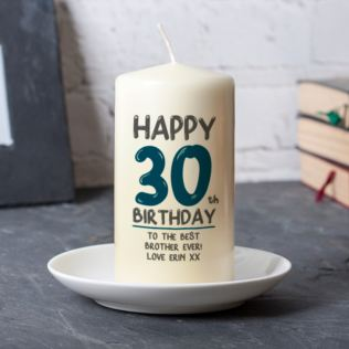 Personalised 30th Birthday Candle Blue Product Image