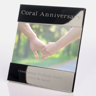 Engraved 35th (Coral) Anniversary Photo Frame Product Image