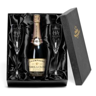 1st Wedding Anniversary Champagne with Personalised Label and Flutes Gift Set Product Image