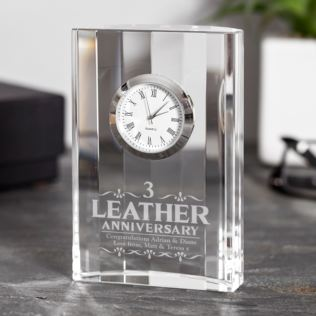 Engraved Third Wedding Anniversary Mantel Clock Product Image