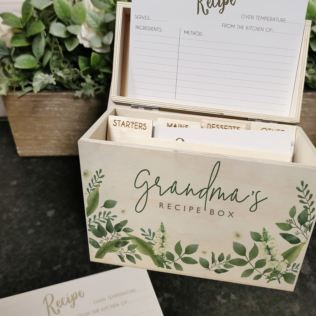 Grandma Personalised Floral Recipe Box Product Image