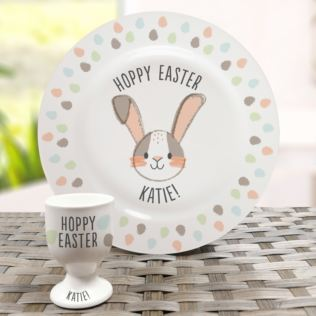 Personalised Hoppy Easter Bone China Plate and Egg Cup Product Image