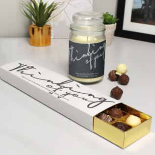 Personalised Thinking Of You Candle Jar & Truffles Set Product Image