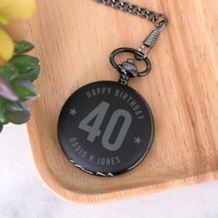 Personalised 40th Birthday Black Pocket Watch Product Image