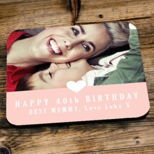 Personalised 40th Birthday Pink Photo Coaster Product Image