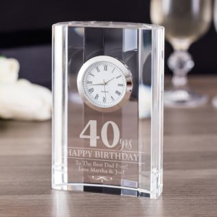 Engraved 40th Birthday Mantel Clock Product Image