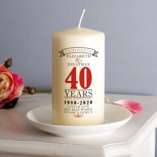 Personalised 40th Anniversary Candle Product Image