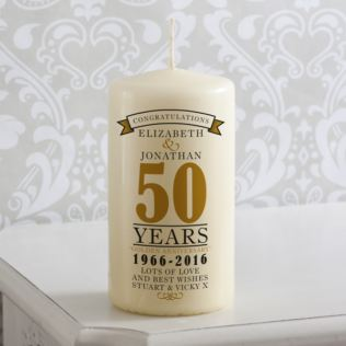 Personalised 50th Anniversary Candle Product Image