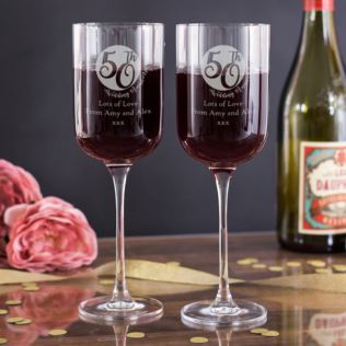Personalised 50th Anniversary Fusion Wine Glasses Product Image