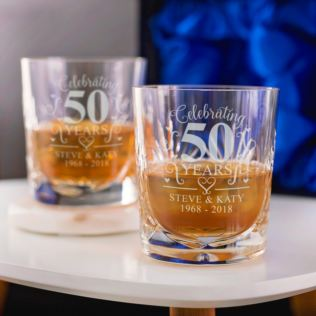 Engraved Cut Crystal Golden Anniversary Whisky Tumblers Product Image