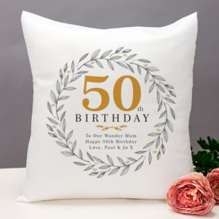Personalised 50th Birthday Cushion Product Image
