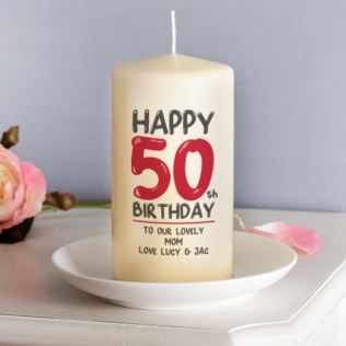 Personalised 50th Birthday Candle Red Product Image