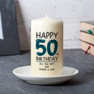 Personalised 50th Birthday Candle Blue Product Image