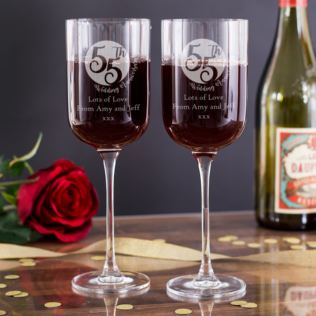 Personalised 55th Anniversary Fusion Wine Glasses Product Image