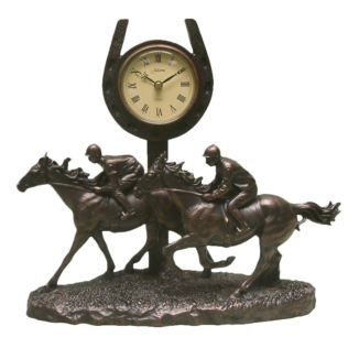 Bronze Finish Galloping Past The Post Horse Mantel Clock Product Image