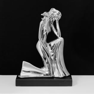 Silver Finish Ceramic Kneeling Woman Figurine 27cm Product Image