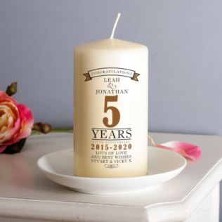 Personalised 5th Anniversary Candle Product Image