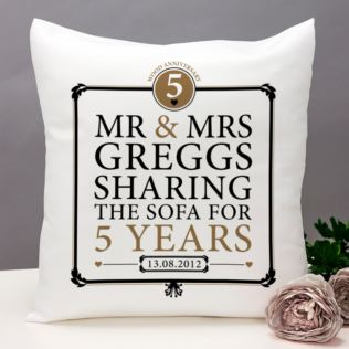 Personalised 5th Anniversary Sharing The Sofa Cushion Product Image