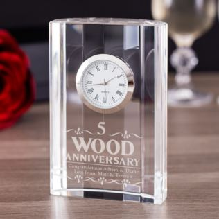 Engraved Fifth Wedding Anniversary Mantel Clock Product Image