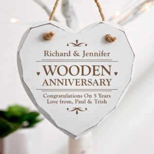 Personalised 5th Anniversary White Wooden Hanging Heart Product Image