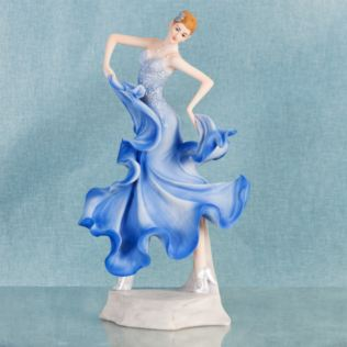 Ballroom Dancer Resin Lady Figurine in Blue Dress Product Image