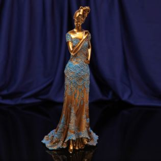 Raffles Collection Lady Figurine Bronze & Blue Finish 33cm Product Image